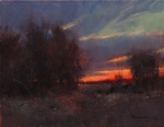 "Artist: Marc Hanson ""Scarlet Sunset"" - 16"" x 20"" Oil"